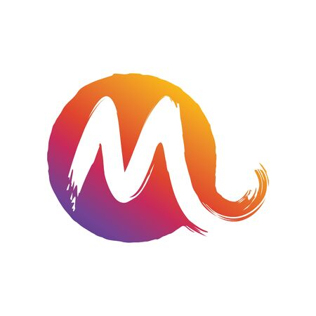 Modern M logo design, in colorful gradient color and splash style, perfect for company logo