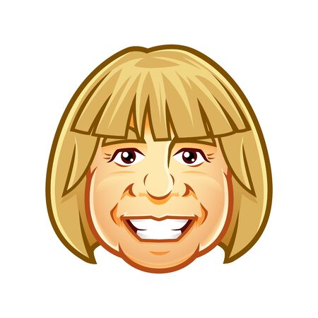 Vector of woman head smiling character mascot, for icon, avatar or logo