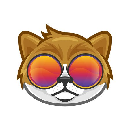 Cat head wearing colorful glasses in vector, cool and funky cat