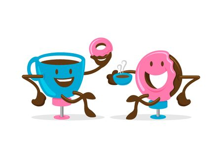 Cup of coffee and doughnut character or mascot, happy and fun cartoon vector