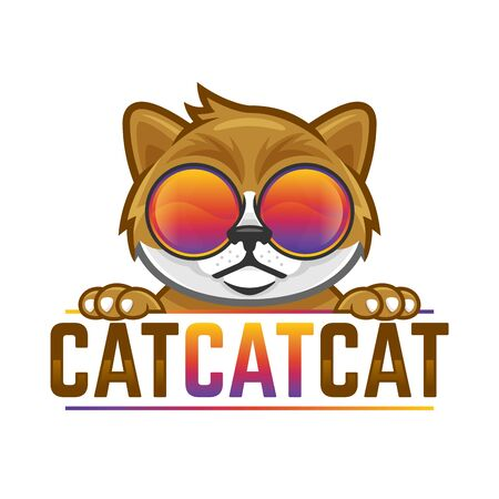 Cat head wearing colorful glasses in vector, funny cat for logo design Иллюстрация