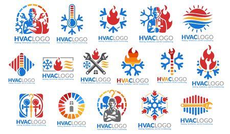Een set HVAC-logo-ontwerp, verwarming, ventilatie en airconditioning, HVAC-logopakketsjablooncollectie.