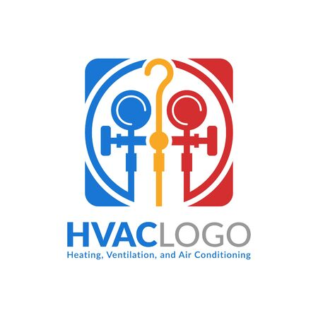 HVAC logo design, heating ventilation and air conditioning logo or icon template Ilustração