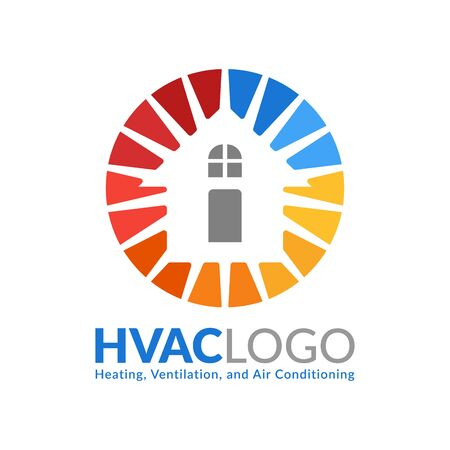 HVAC logo design, heating ventilation and air conditioning logo or icon template Иллюстрация