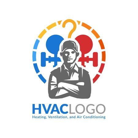 HVAC logo design, heating ventilation and air conditioning logo or icon template Vettoriali