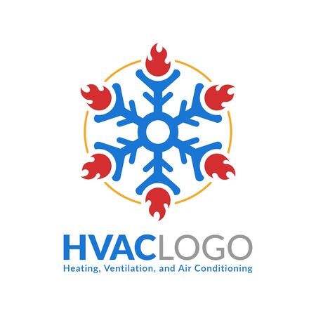 HVAC logo design, heating ventilation and air conditioning logo or icon template  イラスト・ベクター素材