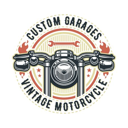Vintage motorcycle logo template, vector retro custom garage emblem or badge.
