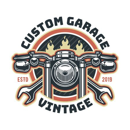 Vintage motorcycle logo template, vector retro custom garage emblem or badge.