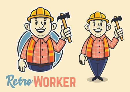 Retro fat construction worker character, vintage builder mascot, funny and adorable man