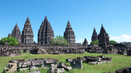 prambanan temple compounds - the tallest and most beautiful, largest hindus temple in the world Stock Photo