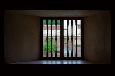 jogjakarta: window view at taman sari water castle - the royal garden of sultanate of jogjakarta