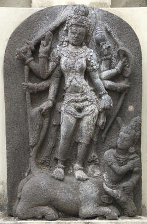 god's cow: Statue of Goddess Durga Mahisasuramardini