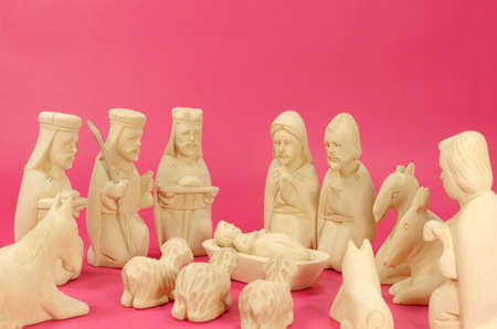 wisemen: Christmas Crib Figures Curved From Wood Representing Holy Family, Vhree Wisemen, Shepherd And Animals