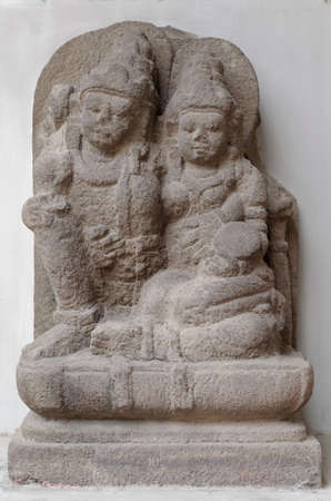 vishnu: The Statue of Vishnu and Lakshmi, 8th - 10th century Stock Photo