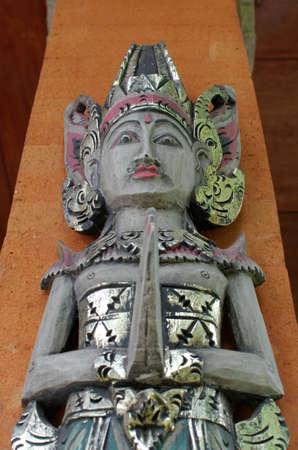 balinese: balinese wood statue Stock Photo