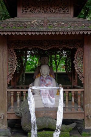 religious clothing: two buddha statues, in mendut buddhist monastery