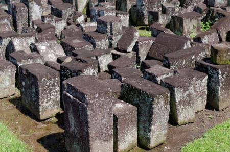 past civilization: stone blocks ruins in ratu boko temple complex