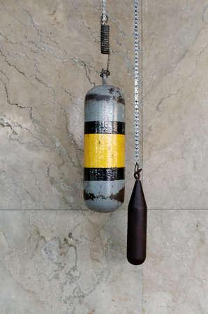 pendulum: vintage pendulum in railway station Stock Photo