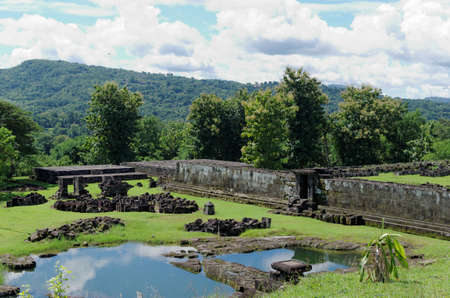 jogjakarta: the pond inside ratu boko palace complex