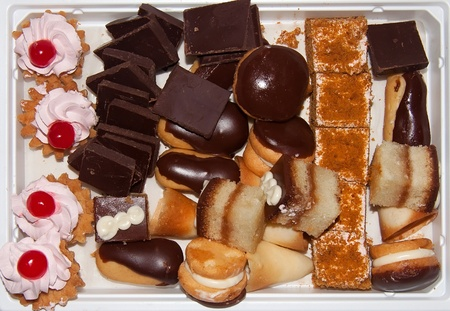 Set of different sweets. Top view. photo