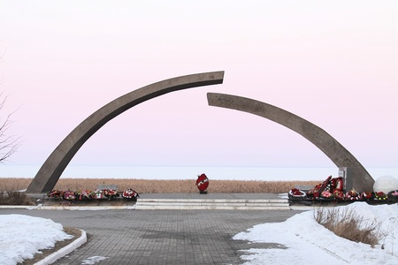 blockade: The Broken Ring on the Road of Life - monument paying tribute to the many lives died by the blockade of Leningrad during World War II (08 September 1941 - 27 January 1944), Russia.