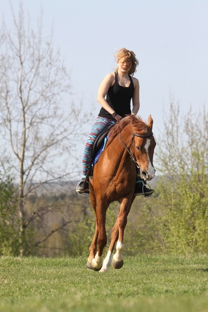 Young woman rides a horse of the Don breed photo