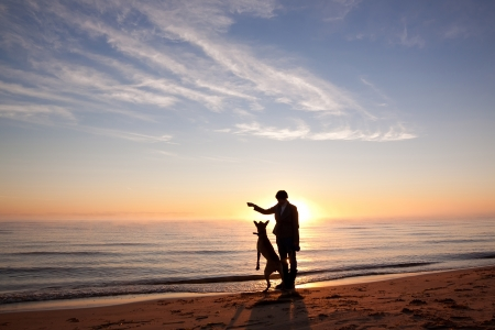 perro corriendo: La mujer juega con el perro en la orilla del lago en la salida del sol