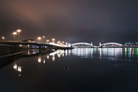 Peter the Great  Bolsheohtinsky  bridge in St  Petersburg, Russia photo