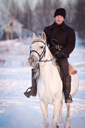 Man riding beautiful Tersk stallion