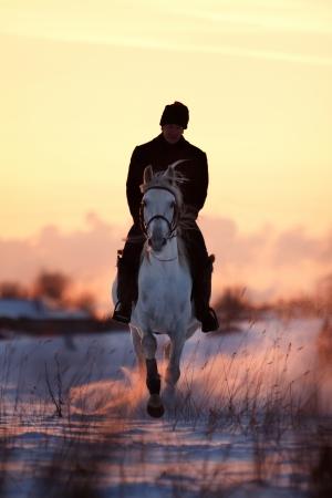 Man riding beautiful Tersk stallion at winter evening Archivio Fotografico