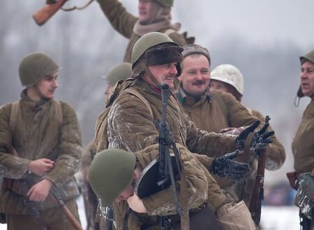 ST. PETERSBURG, RUSSIA - JAN 20: Participants of historical reenactment of breaking the siege of Leningrad (18.01.1943) on January 20, 2013 in St. Petersburg, Russia