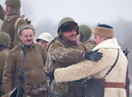 ST. PETERSBURG, RUSSIA - JAN 20: Participants of historical reenactment of breaking the siege of Leningrad (18.01.1943) on January 20, 2013 in St. Petersburg, Russia Redakční