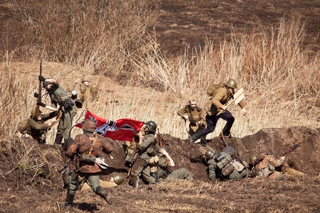 KRASNY BOR, RUSSIA - APR 28: Historical reenactment of the battles for the Krasny Bor (springtime 1943) on april 28, 2013 in Krasny Bor, Leningrad region, Russia