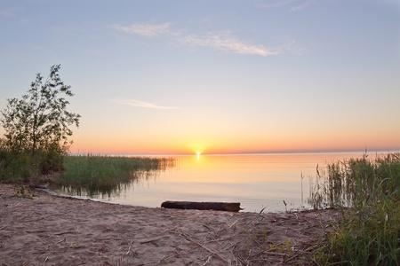 ladoga: Beautiful summer sunrise on Ladoga lake, Russia Stock Photo