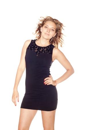 Beautiful girl in black dress photo