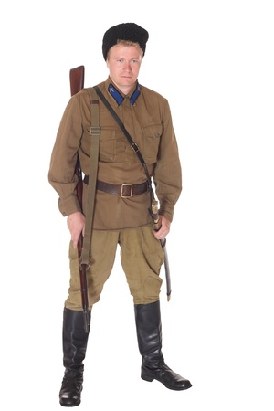 cavalry: Young man wearing clothes of Red Army cavalry, isolated on white