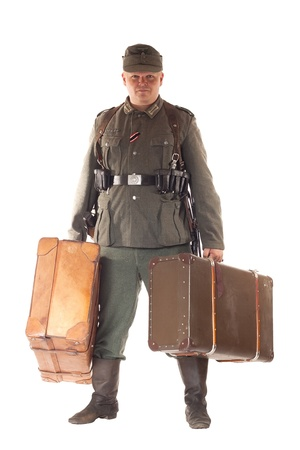 Man in clothes of German soldier Third Reich photo
