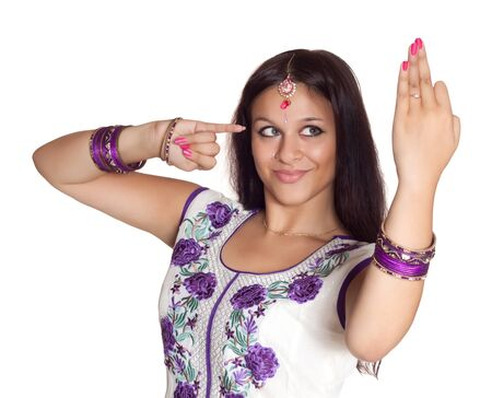 Beautiful Indian girl, isolated over white background photo