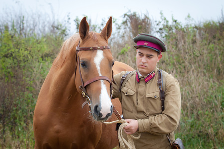 sergeant: Infantry sergeant wearing soviet form of 1937 year and a horse