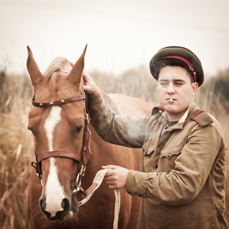 sergeant: Infantry sergeant wearing soviet form of 1943 year and a horse