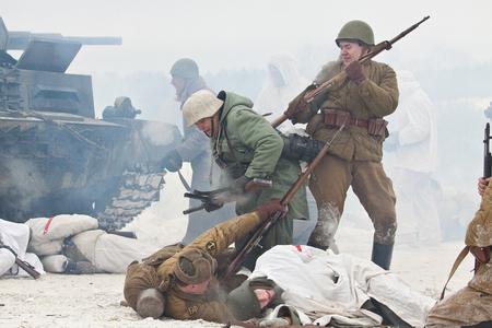 siege: POROZHKI, RUSSIA - JAN 26: Historical reenactment of lifting the siege of Leningrad (27.01.1944) on January 26, 2014 in Porozhki, Russia