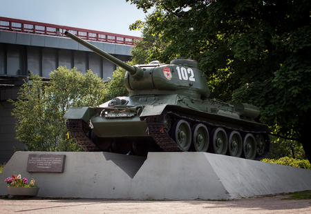 militarily: KIROVSK, RUSSIA - JUNE 08: Legendary Russian medium tank T-34 in museum The Break of the Siege of Leningrad on June 08, 2014 in Kirovsk, Russia.