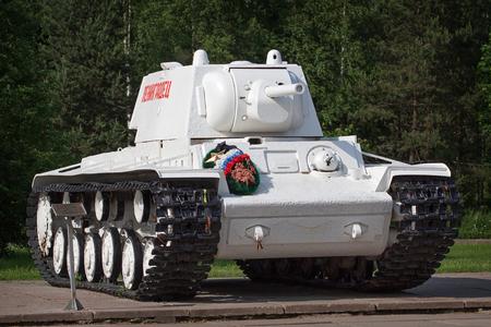 militarily: KIROVSK, RUSSIA - JUNE 08: Russian heavy tank KV-1 (Kliment Voroshilov) in museum The Break of the Siege of Leningrad on June 08, 2014 in Kirovsk, Russia. Editorial