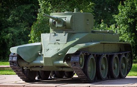 KIROVSK, RUSSIA - JUNE 08: Light cavalry tank BT-5 in museum The Break of the Siege of Leningrad on June 08, 2014 in Kirovsk, Russia.