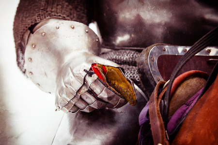 Close up shot of medieval knight armor