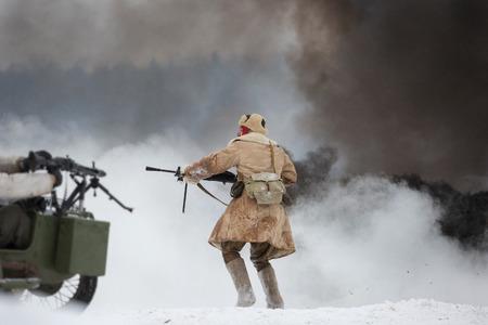 siege: POROZHKI, LENINGRAD REGION, RUSSIA - JAN 25: Historical reenactment of the Operation January Thunder (campaign between the Soviet Leningrad Front and the German 18th Army in January 1944) on January 25, 2015 in Porozhki, Leningrad region, Russia.