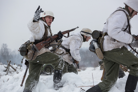 leningrad: POROZHKI, LENINGRAD REGION, RUSSIA - JAN 25: Historical reenactment of the Operation January Thunder (campaign between the Soviet Leningrad Front and the German 18th Army in January 1944) on January 25, 2015 in Porozhki, Leningrad region, Russia.