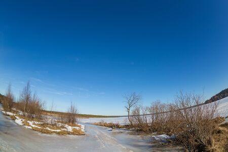 fish eye lens: Beautiful spring landscape made by fish eye lens