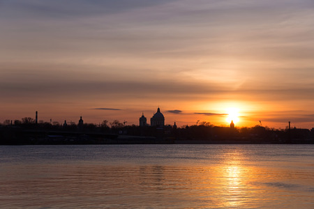 industrialist: View of the Alexander Nevsky Lavra at sunset. St. Petersburg, Russia.