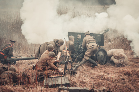 ST. PETERSBURG, RUSSIA - APR 26: Historical reenactment of the last combats of world war two in Europe on april 26, 2015 in St. Petersburg, Russia Editoriali